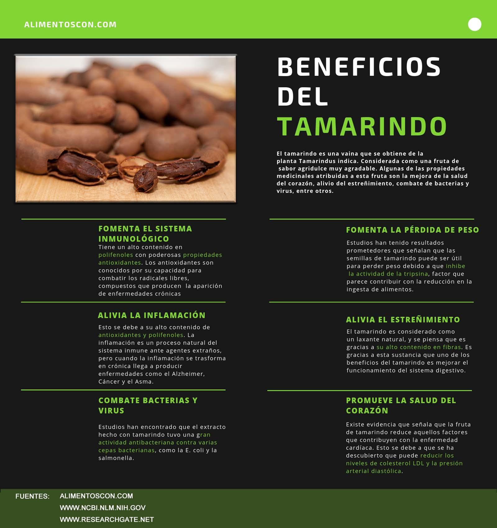 infografia beneficios del tamarindo